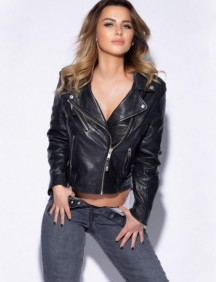 Model Monique in her jeans and leather jacket