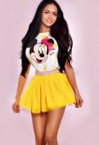 Escort Bonita in her playful yellow skirt and Disney top tt