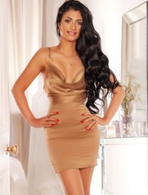 A picture of escort Flo with her long dark hair in a beige dress