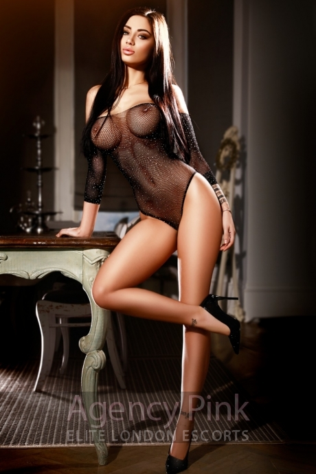 Busty escort Dianne in her black fishnet body suit Picture 4
