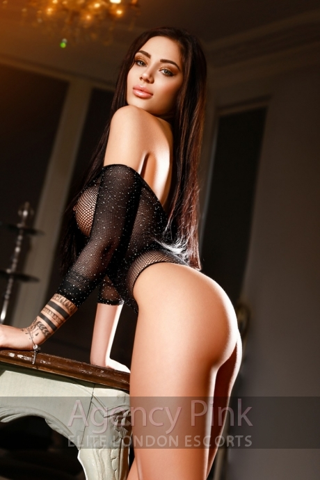 Busty escort Dianne in her sexy fishnet body suit Picture 6