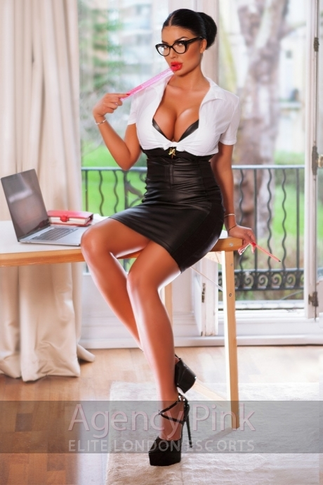 Busty Hayley in her sexy office outfit and red lipstick Picture 4